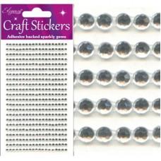 3mm Gems Clear/Silver