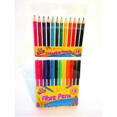 12 colouring pencils 12-colouring fibre pens