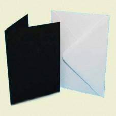 25 Pack A6 Black Card White Envelopes