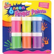 6 Neon Finger Paints
