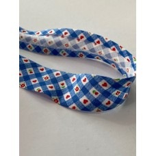 Bias Binding Blue with Flower and Hearts Print 25mm