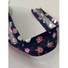 Bias Binding Blue with Flower Print 30mm
