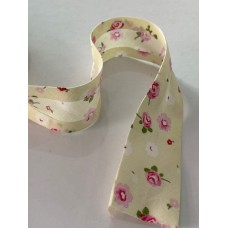 Bias Binding Cream with Flower Print 28mm