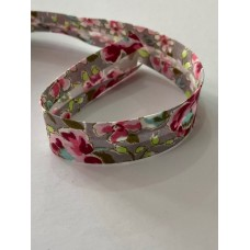 Bias Binding Grey with Flower Print 20mm