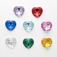 Button Crystal Heart 11mm