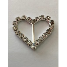 Diamante Heart Buckle 34mm x 30mm