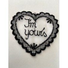 Im Yours lace heart motif