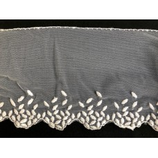 Netted Pattern Edge Lace White 1 Metre
