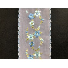 Netted Lace Coloured Flower Design 1 Metre